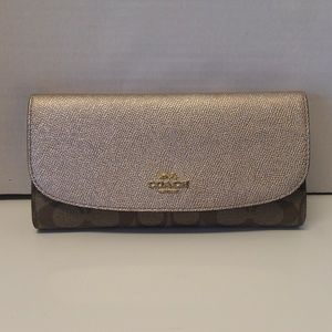 NWT Coach PVC Leather Wallet F57319 Platinum